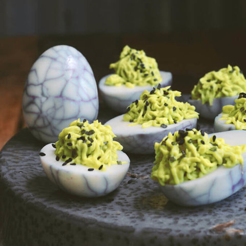 Avocado and Wasabi Halloween Deviled Eggs